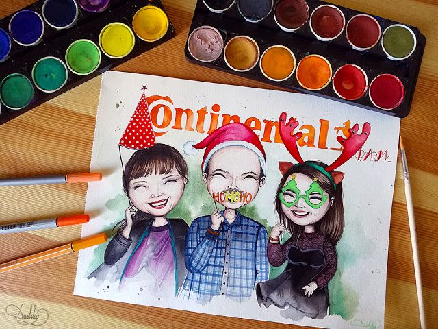 portrait by #dushky | #art #illustration #painting #watercolor #team #company #continental #christmas #party