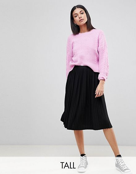 e1db32ed27ae12 Missguided Tall Pleated Midi Skirt | Fashion | Pleated midi skirt ...