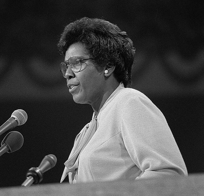 Congresswoman Barbara Jordan's incisive questioning during the Nixon impeachment trials earned her nationwide respect. Her work was recognized when, in 1976, she was invited to be the first African-American and the first woman to deliver the keynote speech at the Democratic National Convention. (Photo: Keynote address by Representative Barbara Jordan, Democratic National Convention.)
