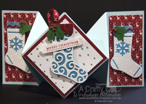 =A Crafty Cat: Stampin' Up! Christmas in July Diamond fold card