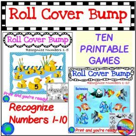 Grade / Year Level :: Primary Education :: Foundation - Year 2 :: Maths Centre Games Learning NUMBERS BUNDLE 1-10 RECOGNITION Roll Cover Bump Fun