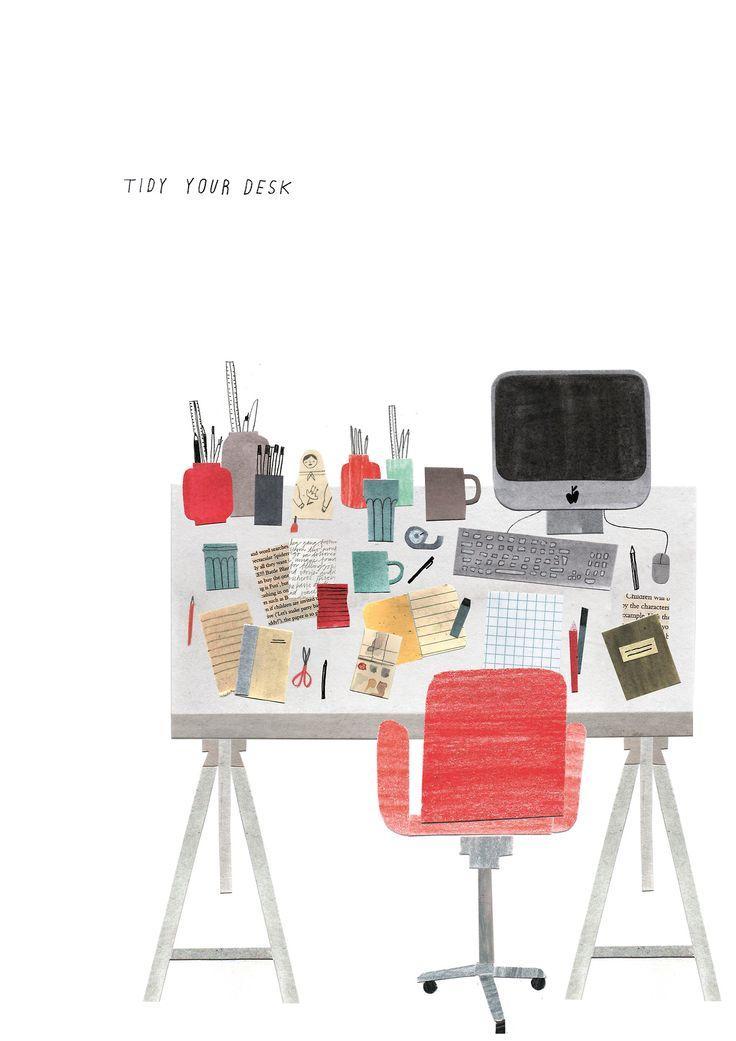 Grace Easton, illustration, desk, editorial, collage, studio, computer