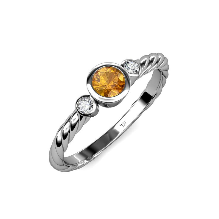 This month's birthday girls luck out, because the #November #birthstones— #citrine  #3stone #engagementring   #gemstone   #finejewelry   #love   #trijewels