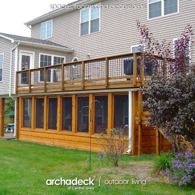 This Johnston client wanted a screened porch area under their exisitng deck as a space for a hot tub and casual seating area. Custom designed and built by Archadeck, builder of custom screened porches in Des Moines area.