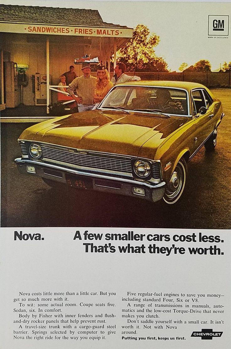 1970's Chevy Nova Vintage Ad - Men Women Outside Restaurant