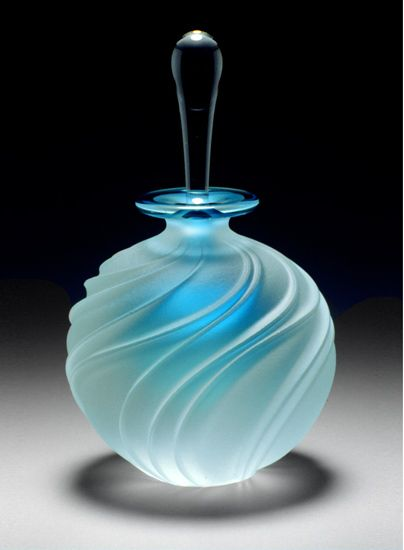"'Carved Swirl Art Glass Perfume Bottle'  [Blue]  [Designer  ~Mary Angus~]  [Blown glass perfume bottle with sandblasted and etched pattern. Signed on bottom.  5.25"" x 3.0"" ]"