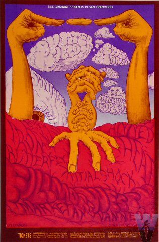 Classic rock concert psychedelic poster - Butterfield Blues Band at Fillmore West 7/30-8/4/68 by Lee Conklin