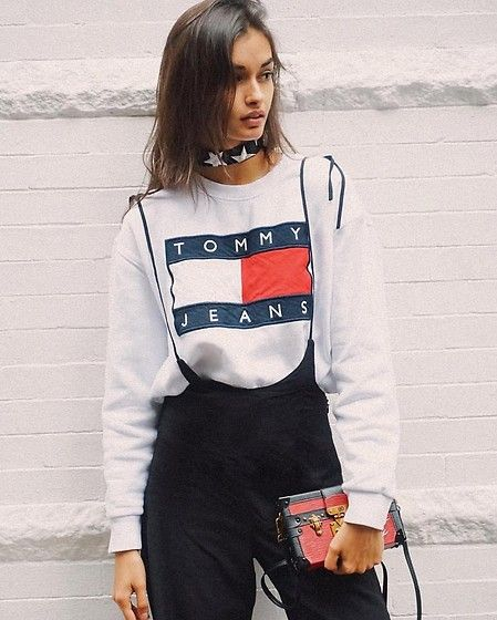 Get this look: http://lb.nu/look/8485653  More looks by Gizele Oliveira: http://lb.nu/gizeleoliveira  Items in this look:  Lili Claspe Choker, Tommy Hilfiger Sweatshirt, Nasty Gal Pants, Louis Vuitton Bag   #edgy #sporty #street #nyc #fall #streetstyle