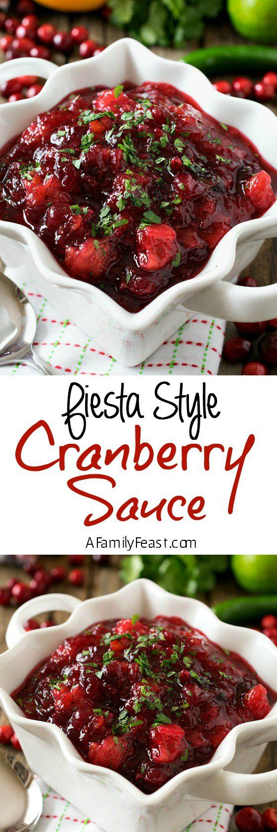 Fiesta Style Cranberry Sauce - An easy cranberry sauce with unexpected and fantastic flavor!