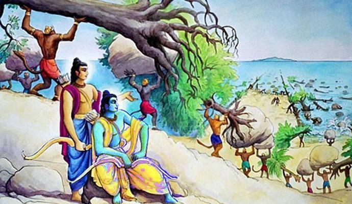 Vanaras building Nala Bridge https://www.booksfact.com/puranas/vanaras-used-trees-rocks-not-floating-stones-build-bridge-lanka.html