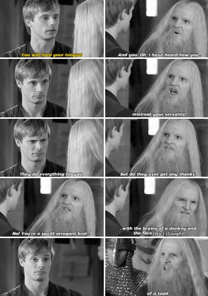 Merlin - You have wronged so many people in so many ways. You're blinded by your hatred of magic. You have tortured and executed innocent people. You, Uther Pendragon, are a stupid, arrogant old tyrant!