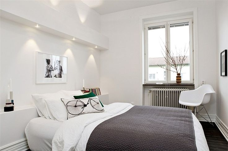 Small bedroom in white and grey via Planete Deco