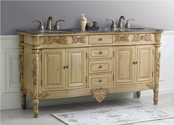 Alexandria Double Sink Antique Bathroom Vanity LD 1025 By Virtu USA