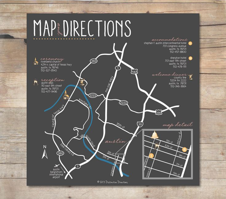 Custom Designed Wedding Map | Riverbend Church & The Austin Club in Austin, TX | Printable .pdf file or printed services via Etsy by Distinctive Directions
