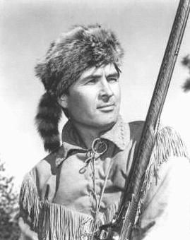 Davy Crockett played by Fess Parker  Song:  Born on a mountain top in Tennessee,   Greenest state in the land of the free.   Raised in the woods so's he knew every tree,   Kilt him a b'ar when he was only three.     Davy, Davy Crockett King of the Wild Frontier!