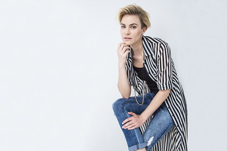 The striped shirt dress worn as a jacket, with denims. #miladys #stripes #dress