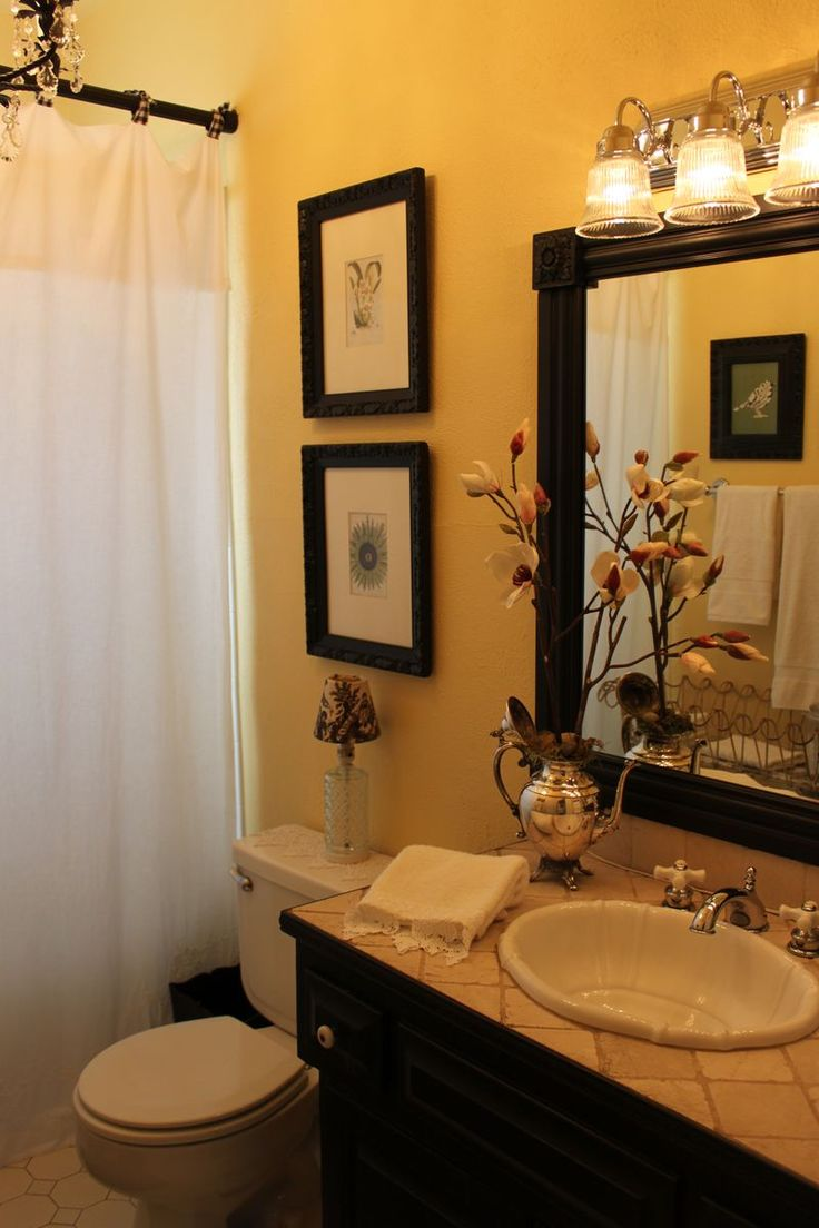 Good colors for bathrooms with ivory fixtures - Love The Warm Wall Color With The Dark Wood Beautiful This Shows You How