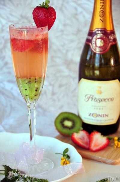 Kiwi-Strawberry Bellini. Makes: 8 servings. 4 Zesperi Kiwi, 16 Strawberries, 1 (750ml) bottle Prosecco. Remove skin from kiwifruits.  In a blender puree until smooth.  strawberries puree until smooth. Spoon kiwi puree and strawberry puree onto the bottom of champagne glasses, about 1 to 2 heaping tablespoons each.  Pour Prosecco over fruit puree and enjoy. You can also substitute kiwi and strawberry with your favorite kind of fruit for this cocktail as well.