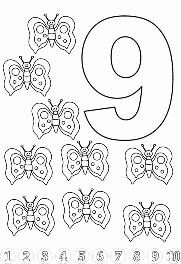 Number 9 Coloring Page Unique Butterfly For Learn Number 9 Coloring Page Bulk Color Fall Coloring Pages Flag Coloring Pages Veterans Day Coloring Page