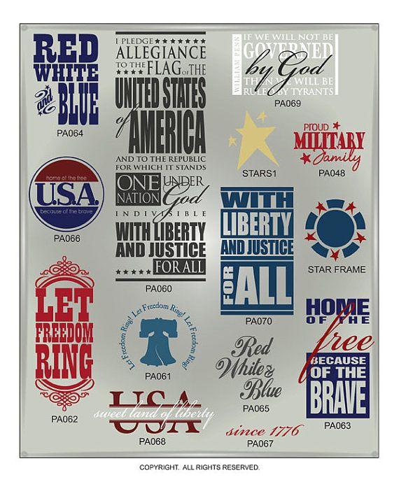 Patriotic Word Art Vectors by myvinyldesigner on Etsy