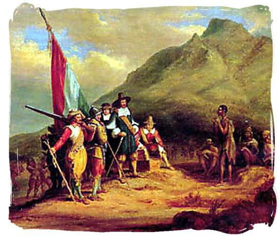 "The Dutch East India Company tried to get the Khoisan to do the farm labor, but the Khoisan weren't putting up with that for long. So the Dutch imported slaves from Benin, Angola, Mozambique, Madagascar, India, Ceylon, and Indonesia. The Khoisan were pushed back away from the Cape and their territory became known as the ""frontier."""
