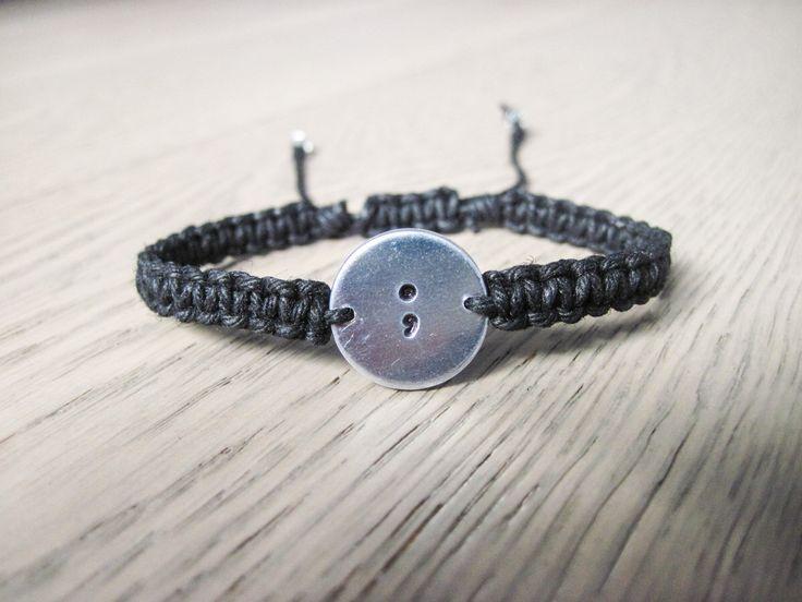 Semicolon Bracelet, Semicolon Jewelry, Gift for Friend, Hemp Bracelet, Hippie jewelry, Handstamped Bracelet by AuraHemp on Etsy https://www.etsy.com/listing/277186542/semicolon-bracelet-semicolon-jewelry