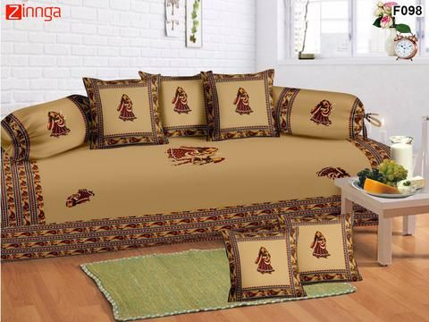 FEMEZONE-Beautiful Beige Color Cotton  Diwan Set of 8 pcs with Traditional Patch work - F098