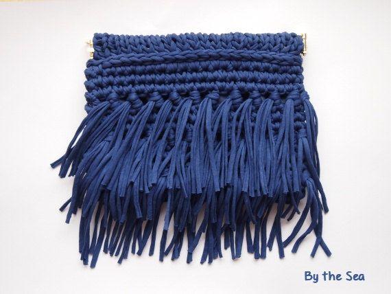 T shirt yarn  crochet Clutch Bag   Dark Blue by BytheSeajewel #fringe