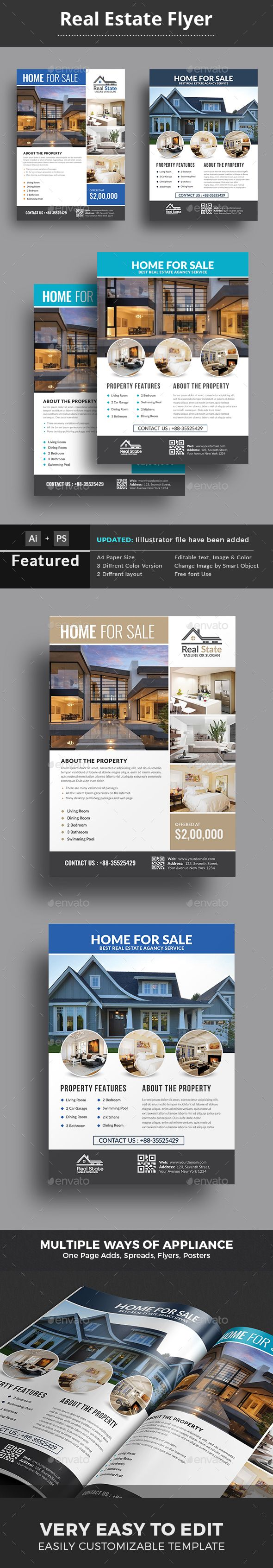 This $Real Estate $Flyer Template is a great tool for promoting your real estate business also useful for a realtor or a real estate agent. You can use it for real estate listings, advertising homes or property for sale,or houses for rent. Fully editable template, you can add images of your choice and change the texts. Download here: https://graphicriver.net/item/real-estate-flyer-template/18447679?ref=classicdesignp