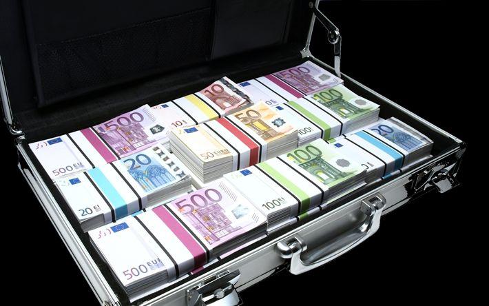 Descargar fondos de pantalla Maleta con dinero, euro, los billetes, el dinero, la montaña de dinero
