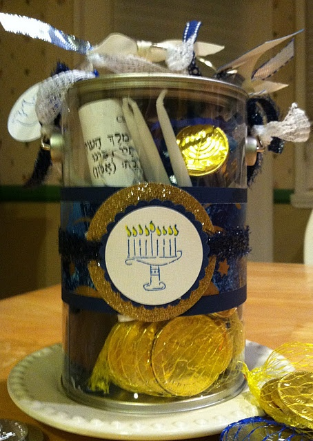 Adorable Hannukah pail filled with holiday staples.