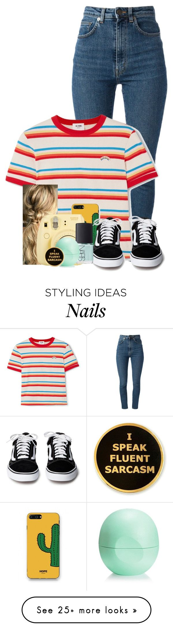 """Untitled #132"" by uunicornns on Polyvore featuring Yves Saint Laurent, RE/DONE, WithChic, Fuji, NARS Cosmetics and Eos"