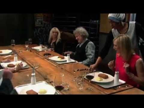 Heston's guests eat posh spam fritters