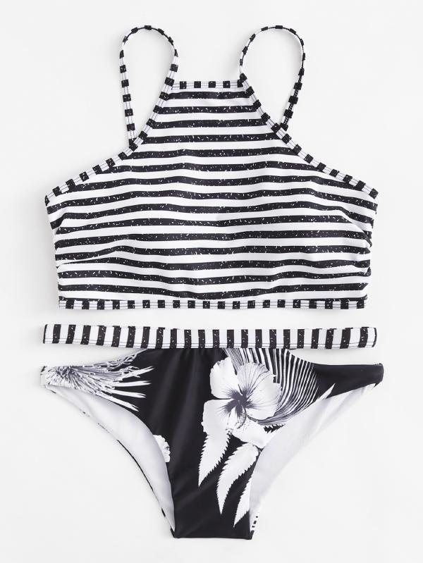 7d453ad66a Striped Flower Print Bikini Set -SheIn(Sheinside)