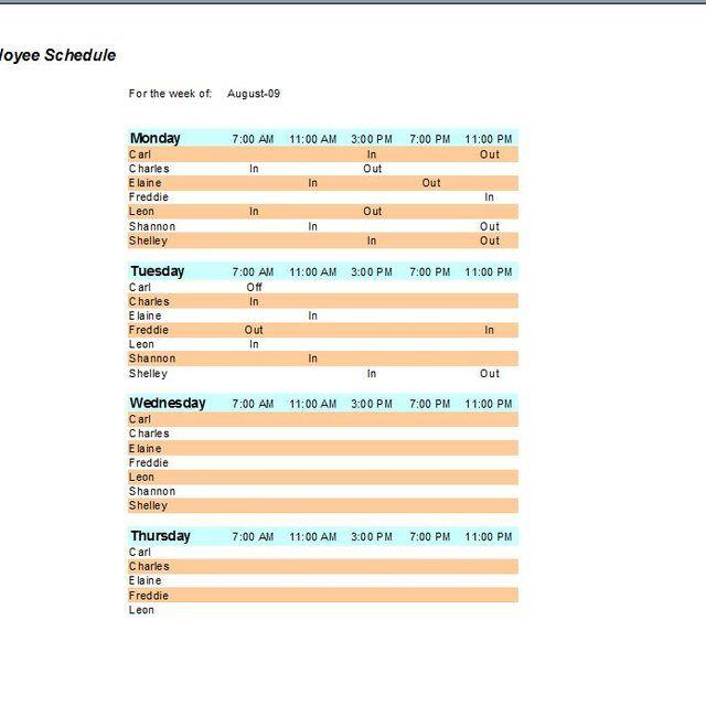 16 best work schedules images on Pinterest Schedule templates - employee work schedule template