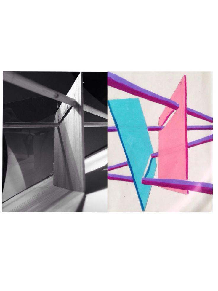 repetition, colour, shadow. materials: balsa wood, chopstick.