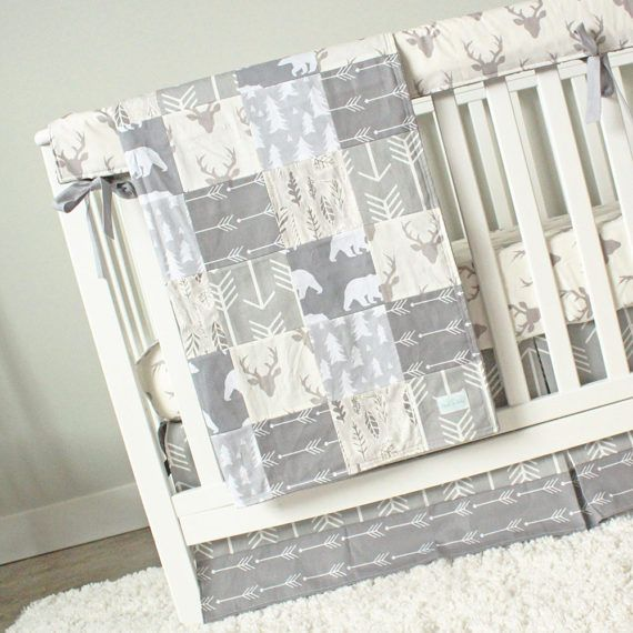 All gray woodlands crib bedding | Woodlands Nursery ...