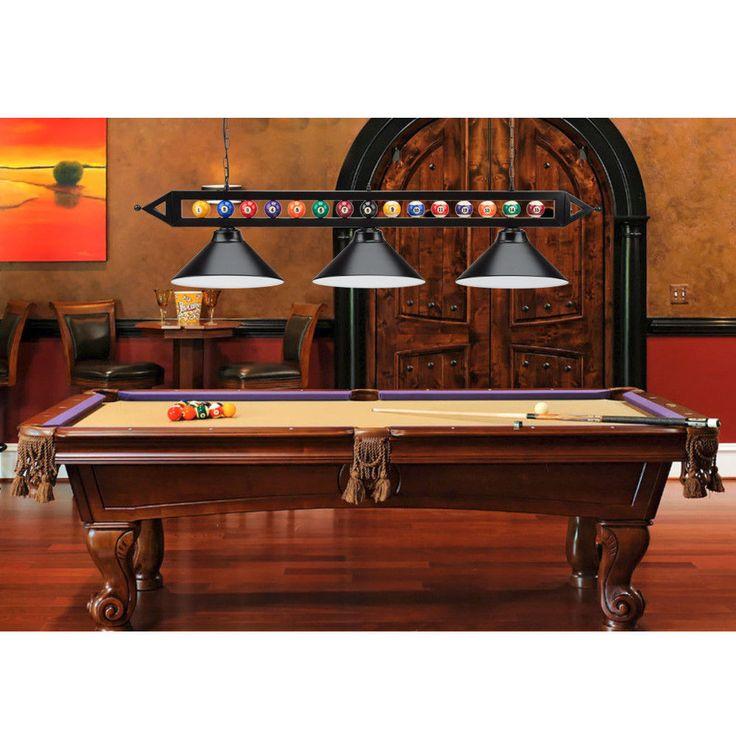 59 billiard pool table lighting fixture with 3 metal lamp