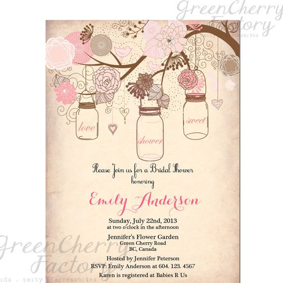 Mason Jar Invitation - Rustic Bridal Shower Invitation - Vintage Peach Background - Tree Bird Baby Shower Birthday Shabby Chic- No.121
