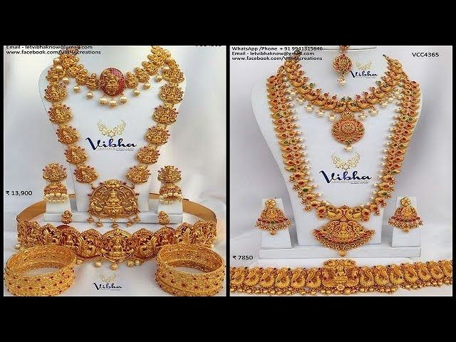 1 Gram Gold Bridal Jewellery Set With Price And Whatsapp Number Gold Bridal Jewellery Sets Bridal Accessories Jewelry Jewelry