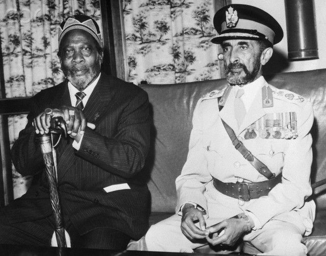 Jomo Kenyatta and Emperor Haile Selassie of Ethiopia in May 1964.