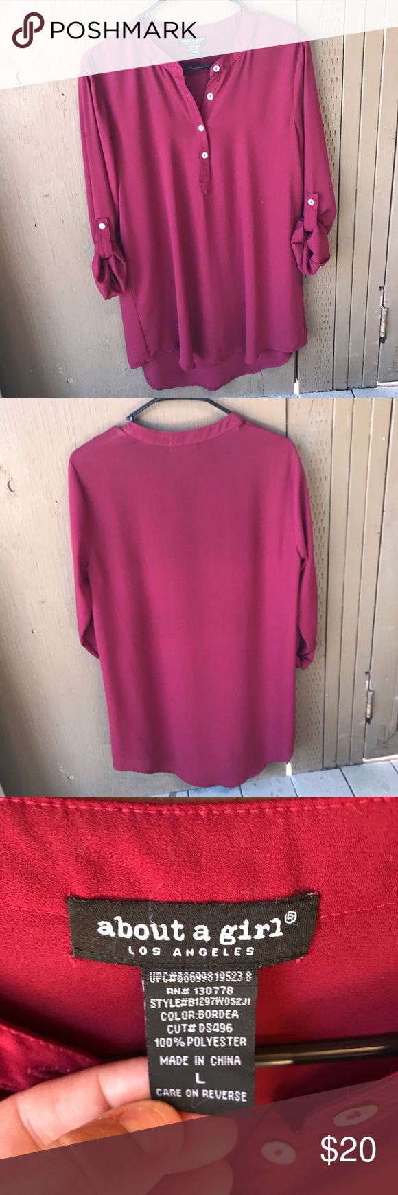 Maroon long dress shirt This is a brand new long dress shirt. It's made of polyester. About A Girl Tops Blouses