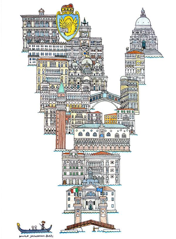 Hugo Yoshikawa illustrated a complete alphabet using the famous monuments from each cities. The ABC illustration series of European cities was made as part of an exhibition