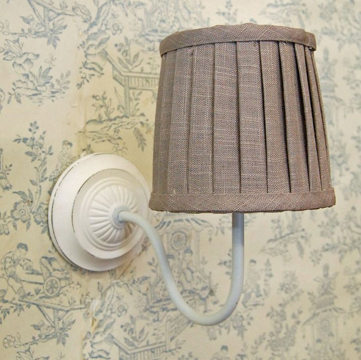 Bowley & Jackson French wooden cream wall light with grey linen lamp shade Bowley & Jackson