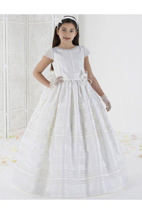 袖つき フラワー サッシ フロアー丈 フラワーガールドレス 子供ドレス Fab0015