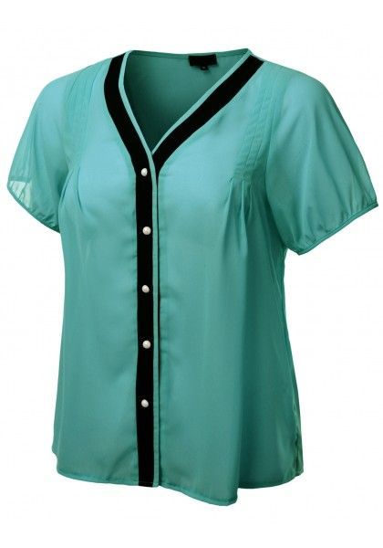 Short Sleeve Pearl Button Down Blouse with Contrasting Trim #jtomsonplussize