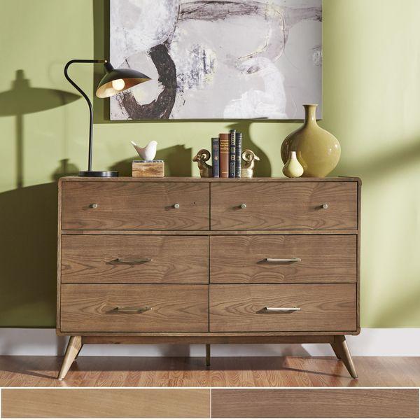 "OVERSTOCK - Mid-Century Living Penelope Danish Modern Curved 6-Drawer Dresser - 55.38""W x 17.75""D x 36.63""H - $488.99"