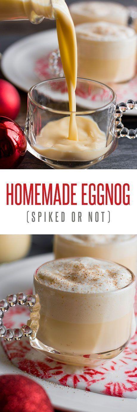 Homemade Eggnog (Spiked or Not!) Recipe #eggnog #homemadeeggnog #spikedeggnog #christmasdrink #christmascocktail