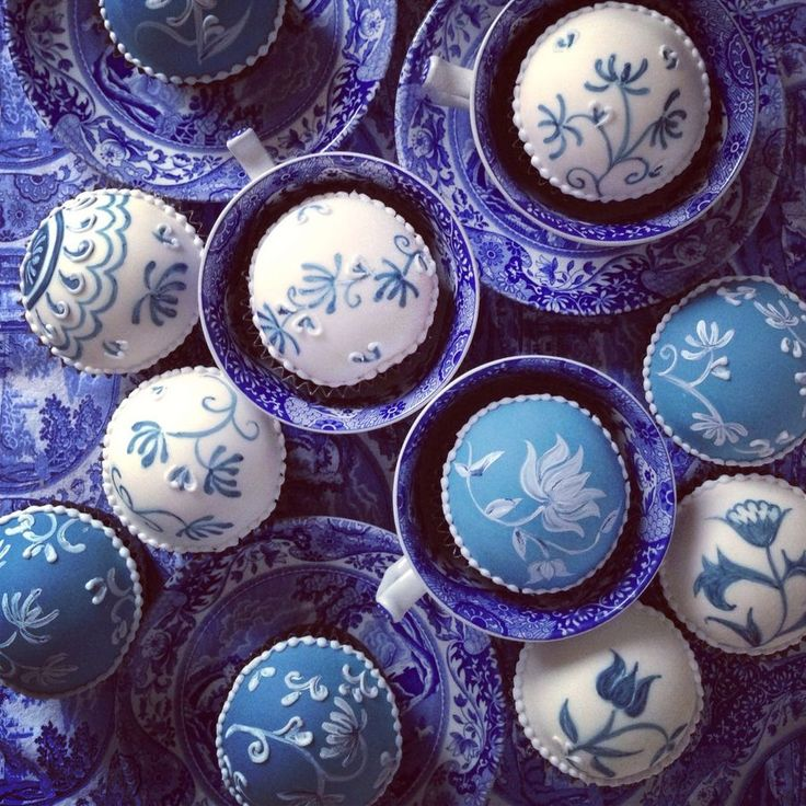 Hand painted cupcakes in blue china tea cups