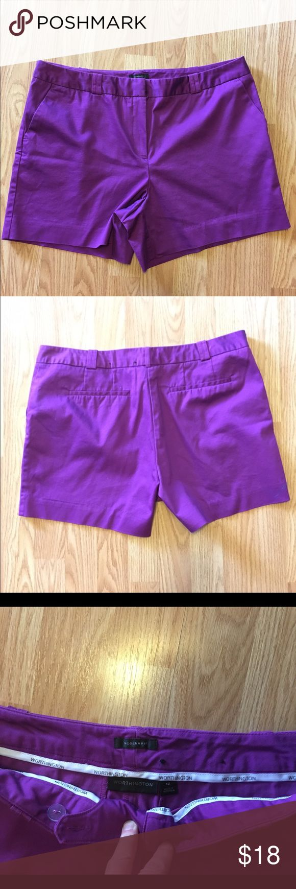 "WORTHINGTON Women's Purple Modern Fit Shorts  12 EUC WORTHINGTON MODERN PURPLE SHORTS IN SIZE 12. Front zip measuring 34"" waist and 4-1/2"" inseam. Worthington Shorts"